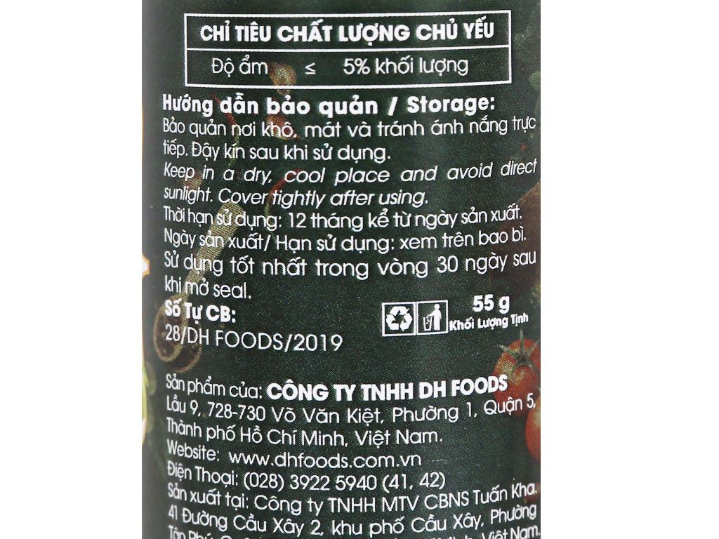 Muối tiêu lá chanh Dh Foods Natural hũ 55g 3