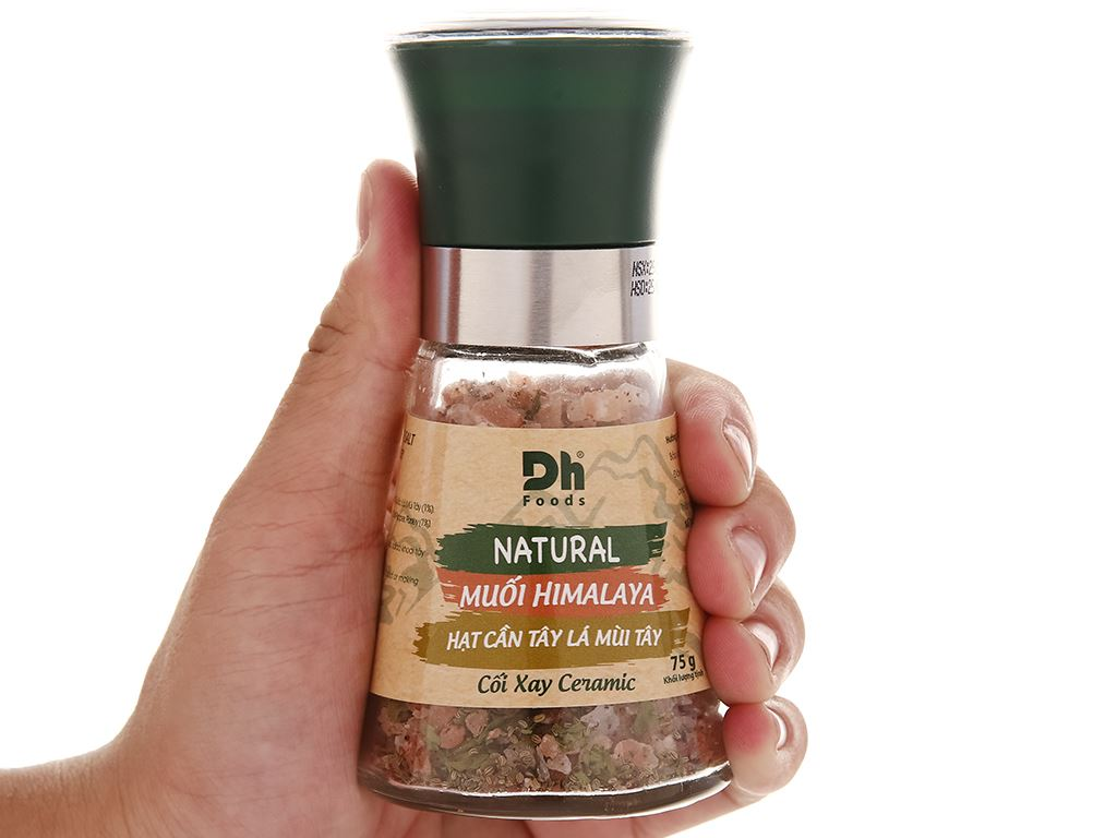 Muối Himalaya hạt cần tây lá mùi tây Dh Foods nắp cối xay hũ 75g 6
