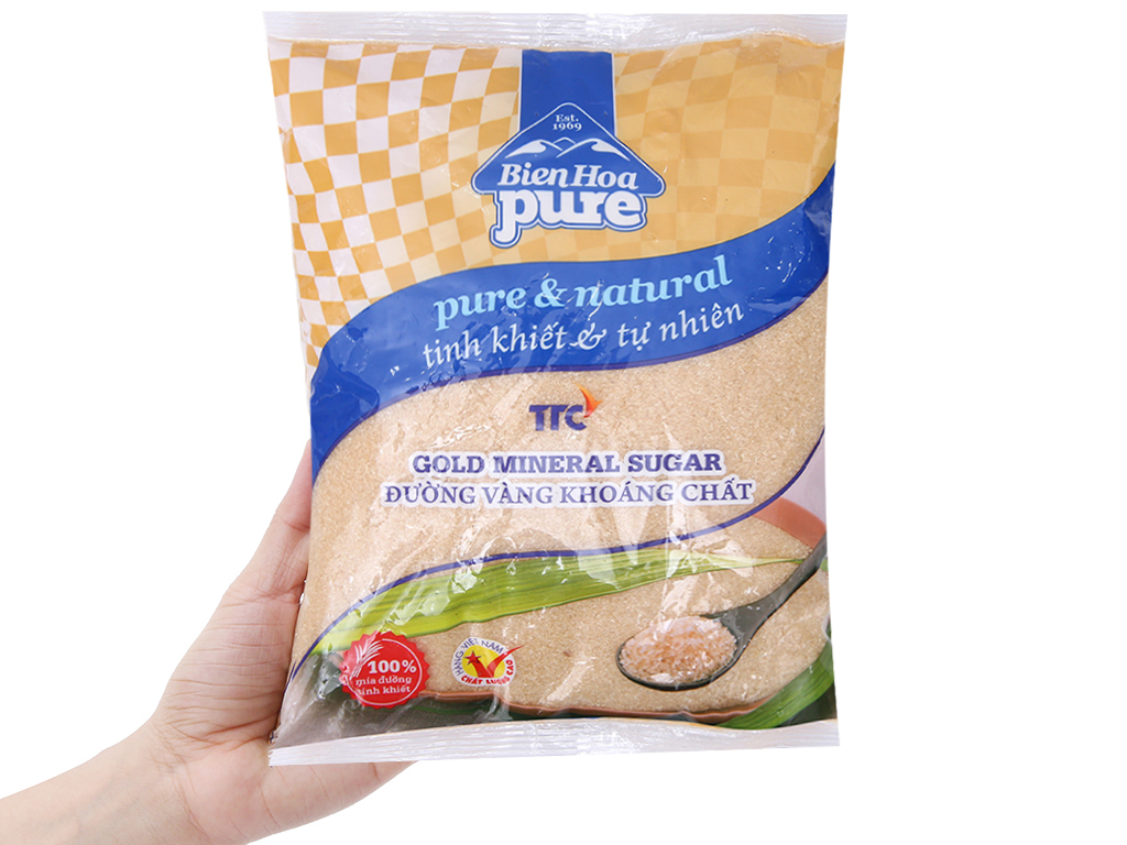 Đường vàng khoáng chất Biên Hòa Pure gói 1kg 3