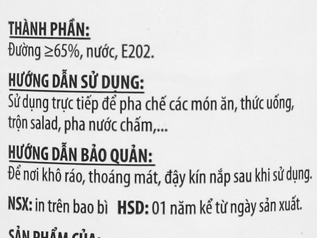 Đường lỏng Biên Hòa Mía Xanh chai 250ml 4