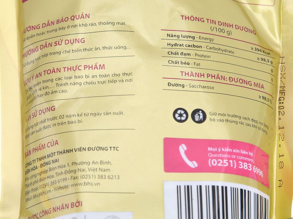 Đường phèn vàng nguyên chất Biên Hòa Pro gói 500g 3