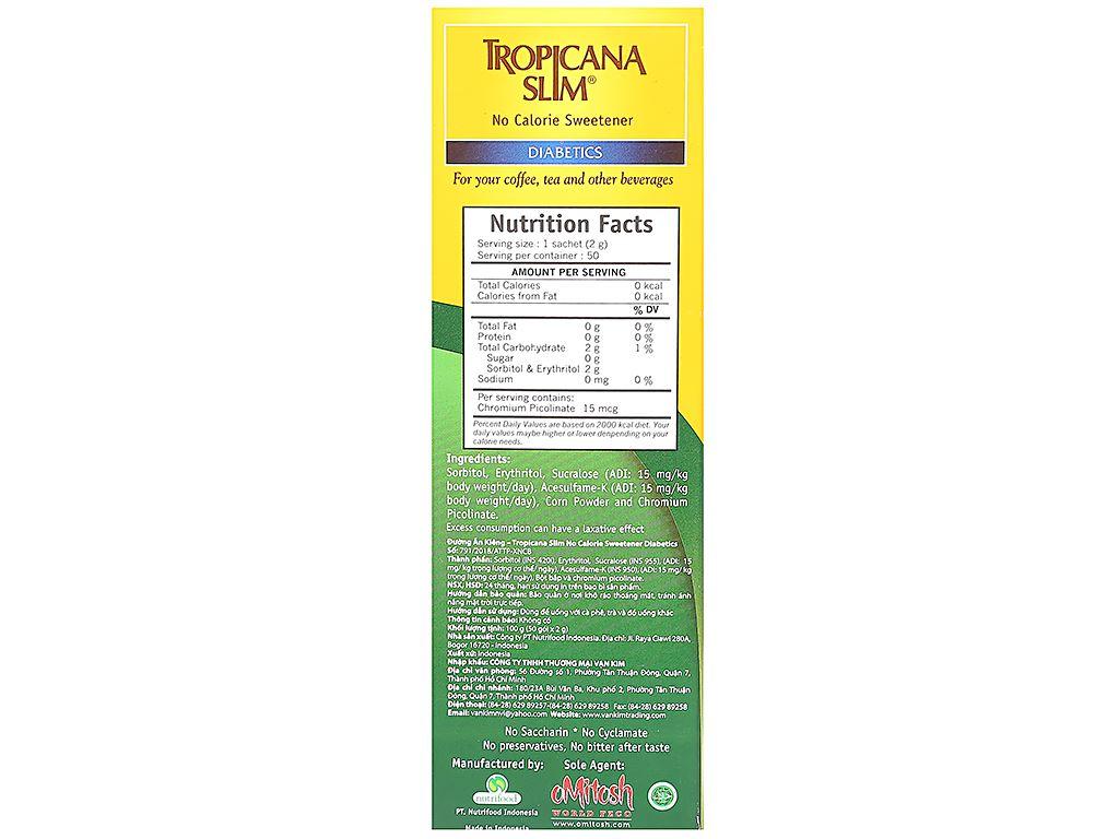 Đường ăn kiêng Tropicana Slim Diabetics hộp 100g (50 gói x 2g) 3