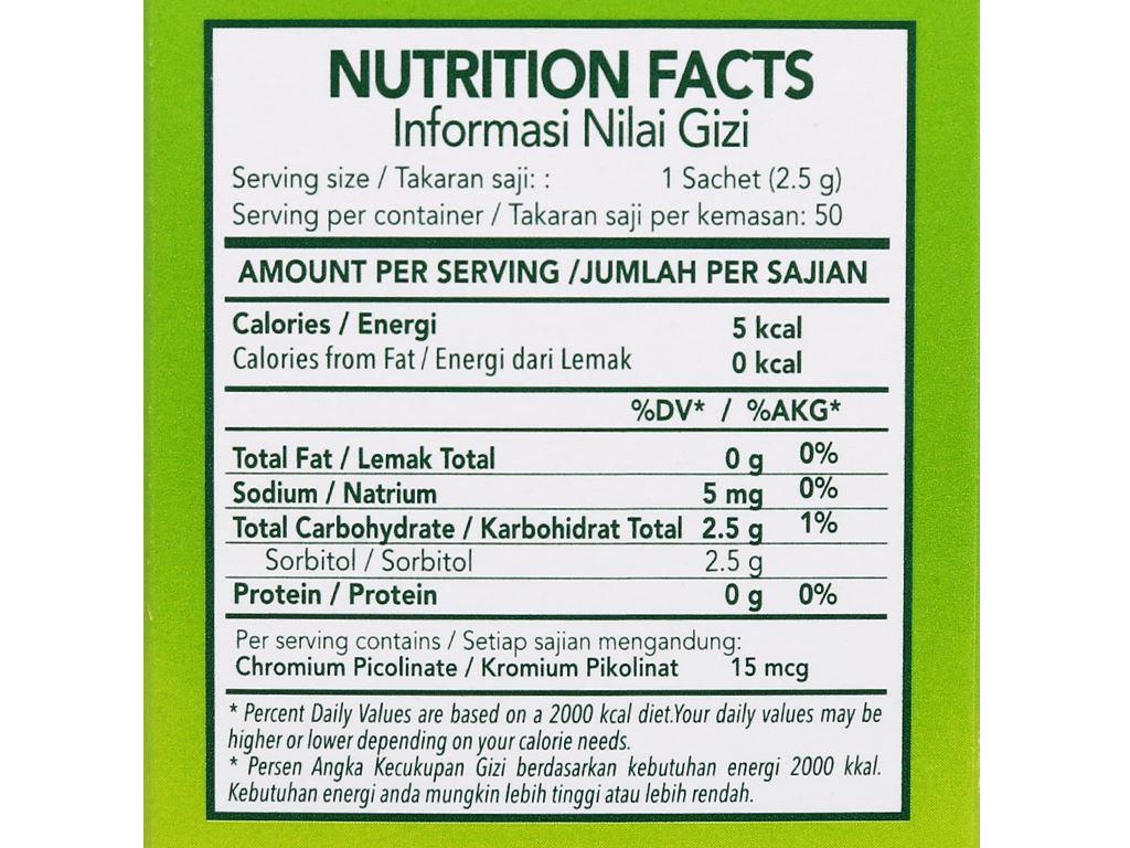 Đường lá cỏ ngọt Tropicana Slim Stevia hộp 125g 2