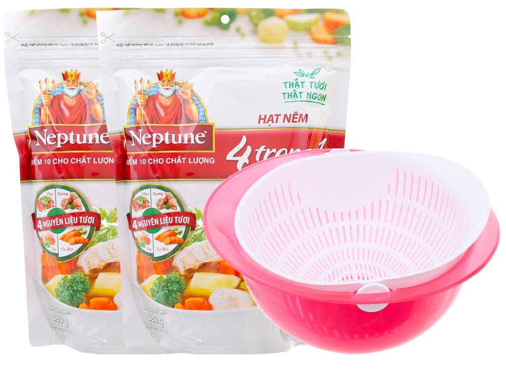Lốc 2 gói hạt nêm vị heo Neptune gói 380g (tặng rổ) 1