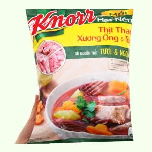 Hạt nêm Knorr thịt thăn, xương ống và tủy với nguồn xương thịt heo chuẩn Vietgap 1.2kg