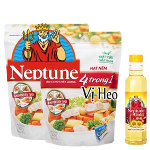 Lốc 2 gói hạt nêm Vị heo Neptune gói 380g (tặng dầu ăn)