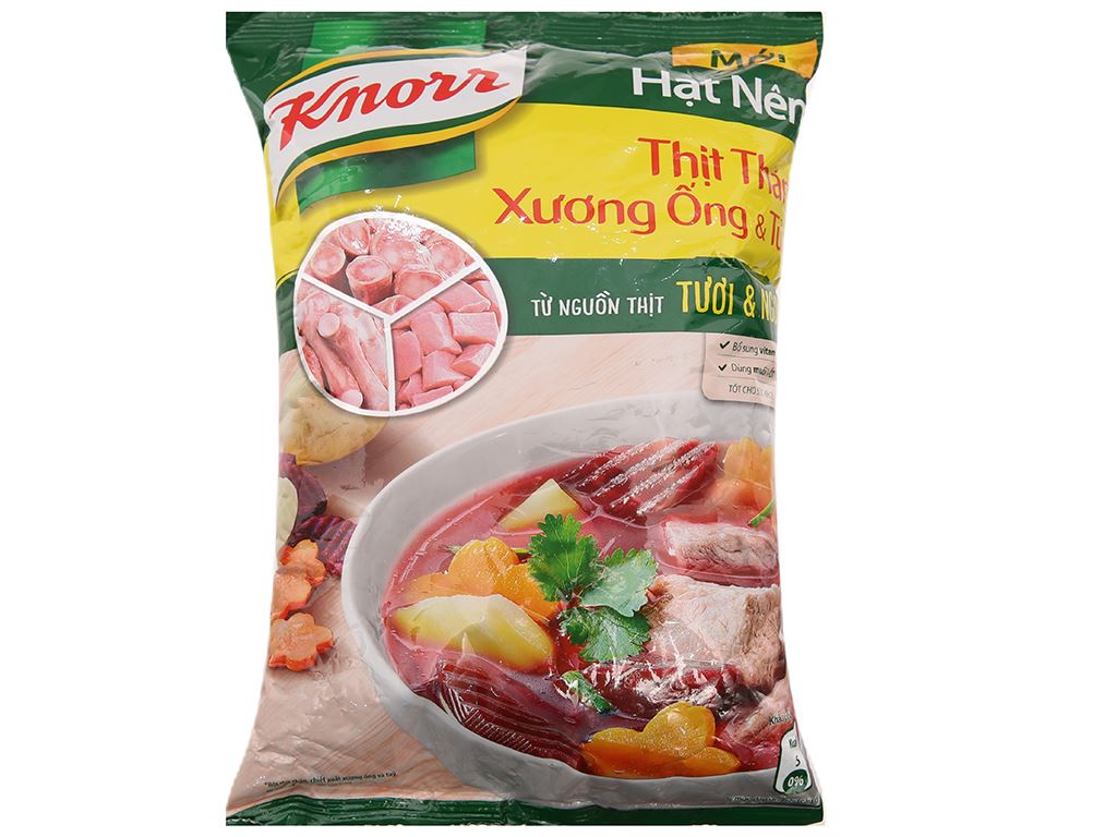 Hạt nêm thịt thăn, xương ống, tủy Knorr gói 900g (tặng tô vân có nắp) 2