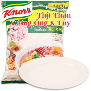Hạt nêm Thịt thăn, xương ống, tủy Knorr gói 1,2kg (tặng dĩa sứ thuyền)