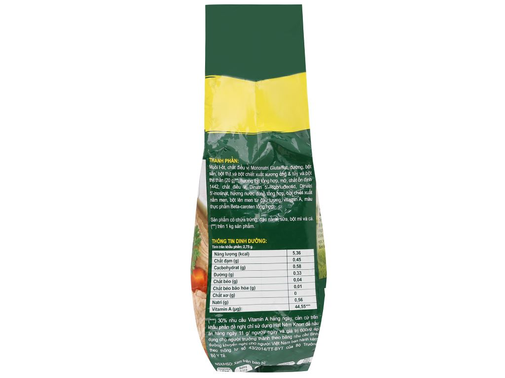 Hạt nêm thịt thăn, xương ống, tủy Knorr gói 1,8kg 3