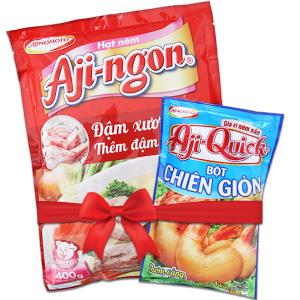 Hạt nêm Xương, thịt heo Aji-ngon gói 400g (Tặng bột chiên giòn Aji-Quick 150g)