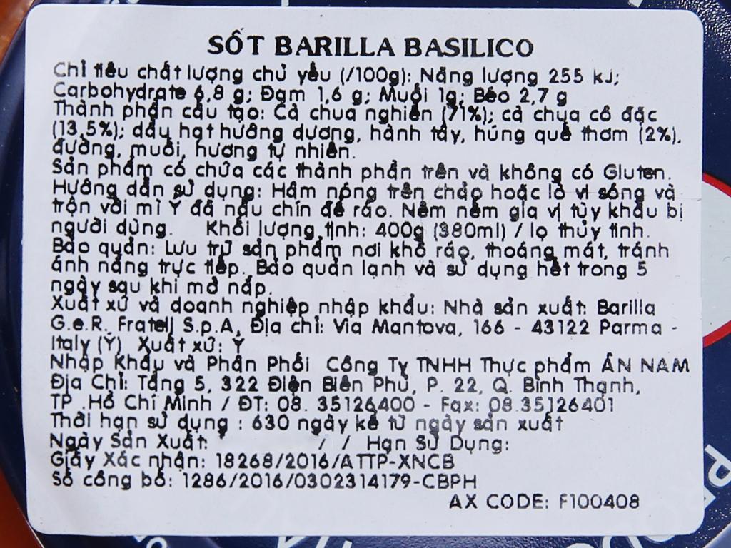 Sốt cà chua Barilla hũ 400g 5