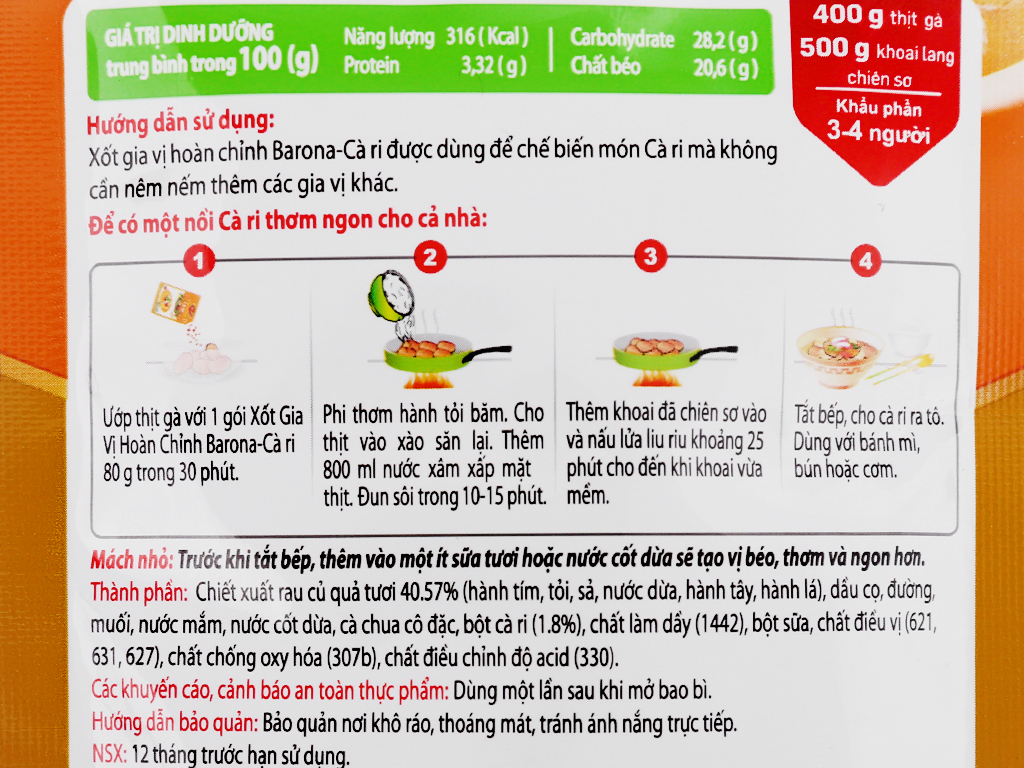 Xốt gia vị hoàn chỉnh cà ri Barona gói 80g 8