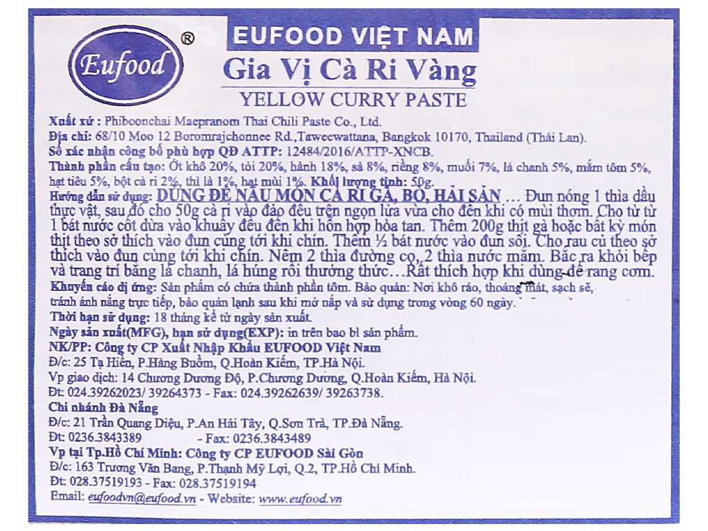 Gia vị cà ri vàng MaePranom gói 50g 9