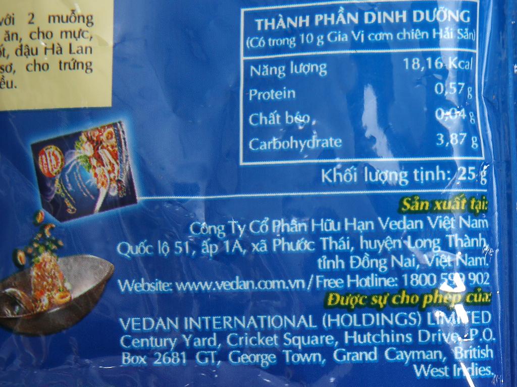 Gia vị cơm chiên hải sản Vedan gói 25g 5