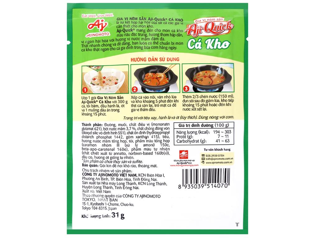Gia vị nêm sẵn cá kho Aji-Quick gói 31g 3