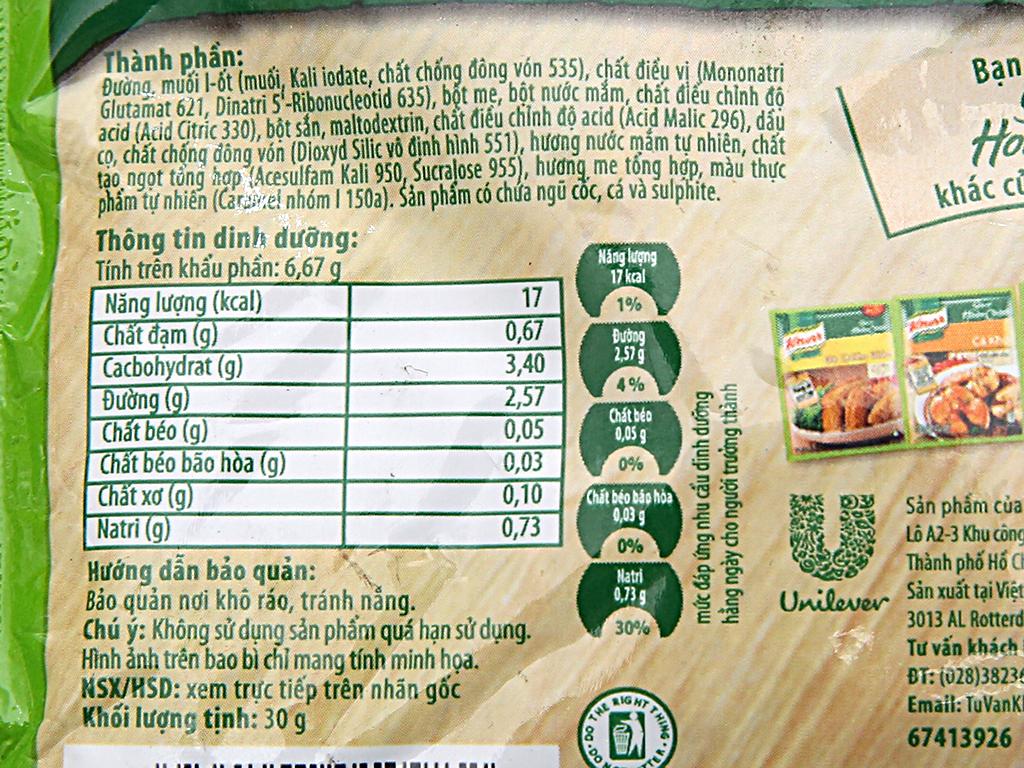 Gia vị hoàn chỉnh nấu canh chua Knorr gói 30g 5