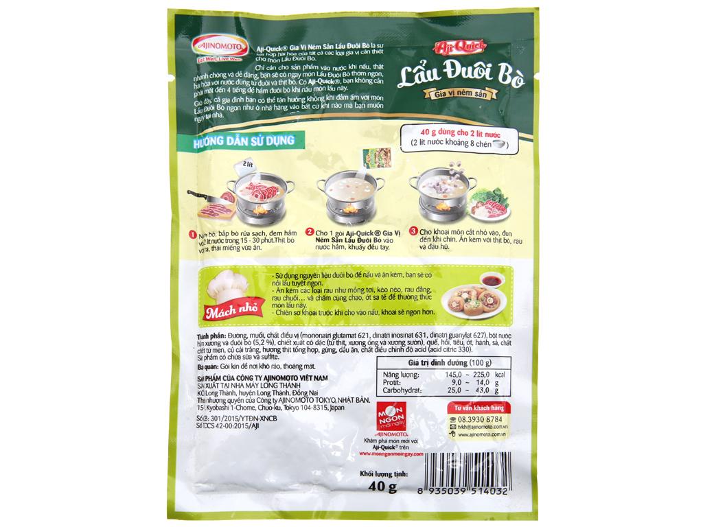 Gia vị nêm sẵn nấu lẩu đuôi bò Aji-Quick gói 40g 2