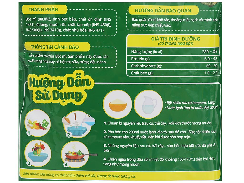 Bột chiên Tempura Dali Food gói 150g 3