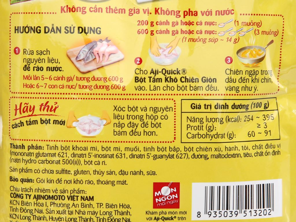 Bột tẩm khô chiên giòn Aji-Quick gói 210g 7