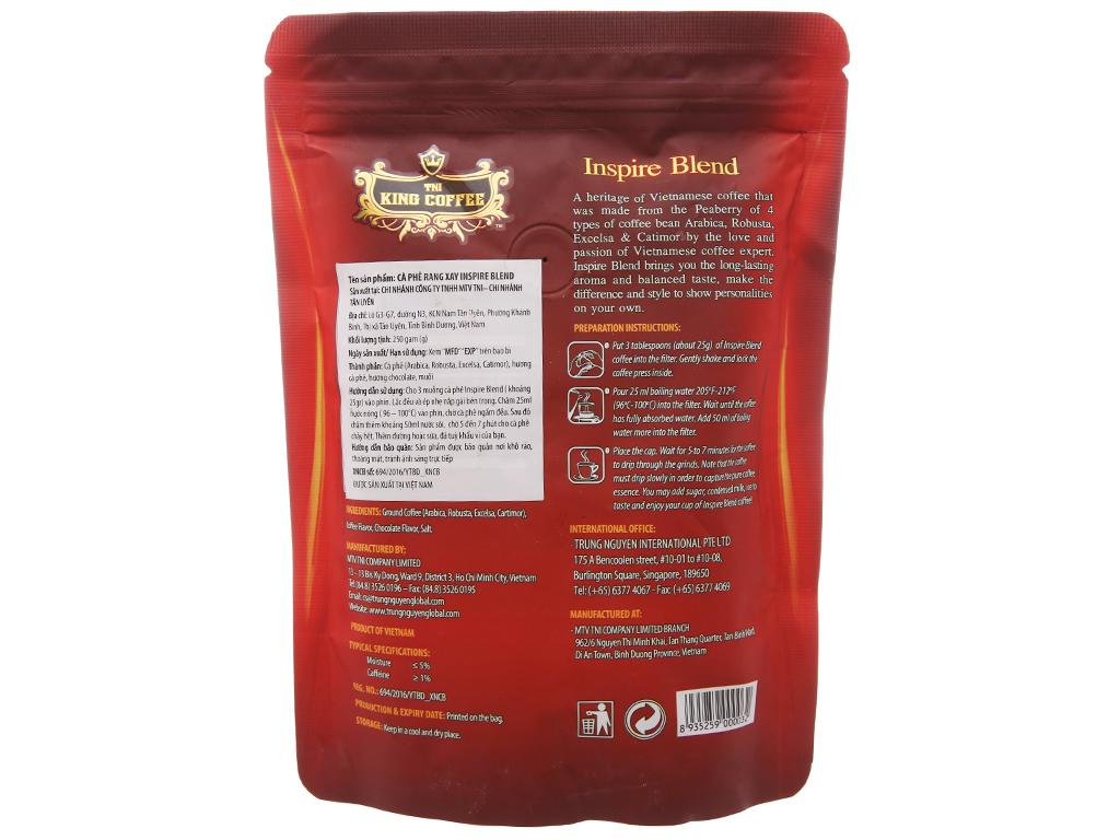 Cà phê TNI King Coffee Inspire Blend gói 250g 2