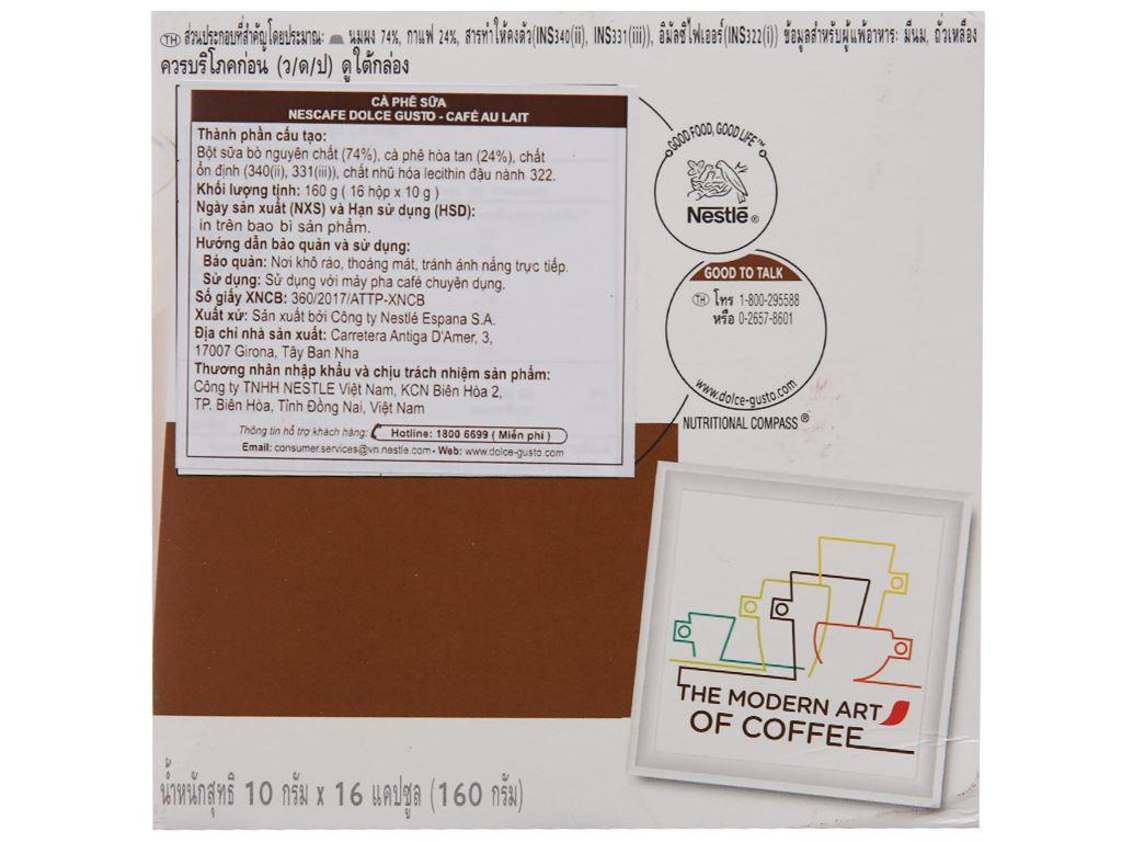 Cà phê viên nén NesCafé Dolce Gusto Café Au Lait 160g 3