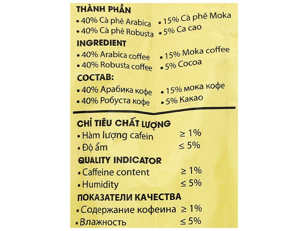 Cà phê rang xay nguyên chất Con chồn vàng Cacao - Chocolate 500g 6