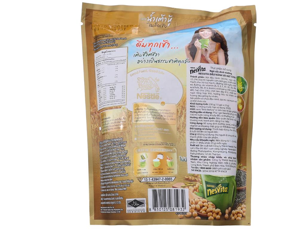 Ngũ cốc dinh dưỡng Nesvita Đậu nành và hạt chia bịch 230g 3