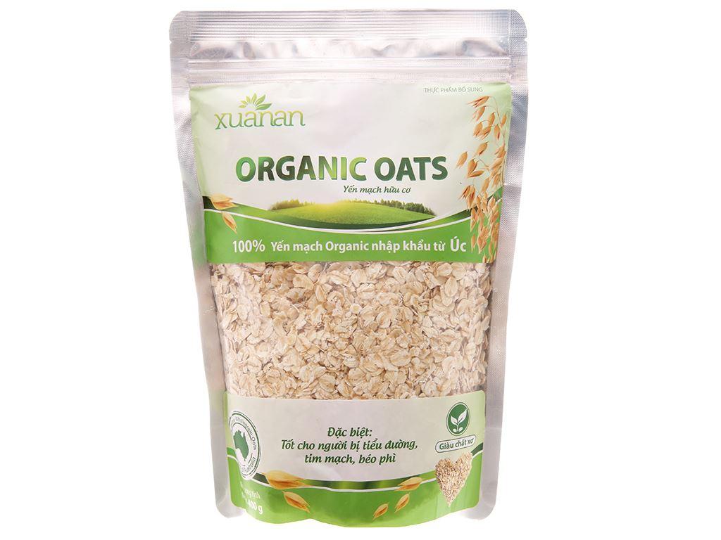 Yến mạch nguyên cám Xuân An Organic Oats bịch 400g 1