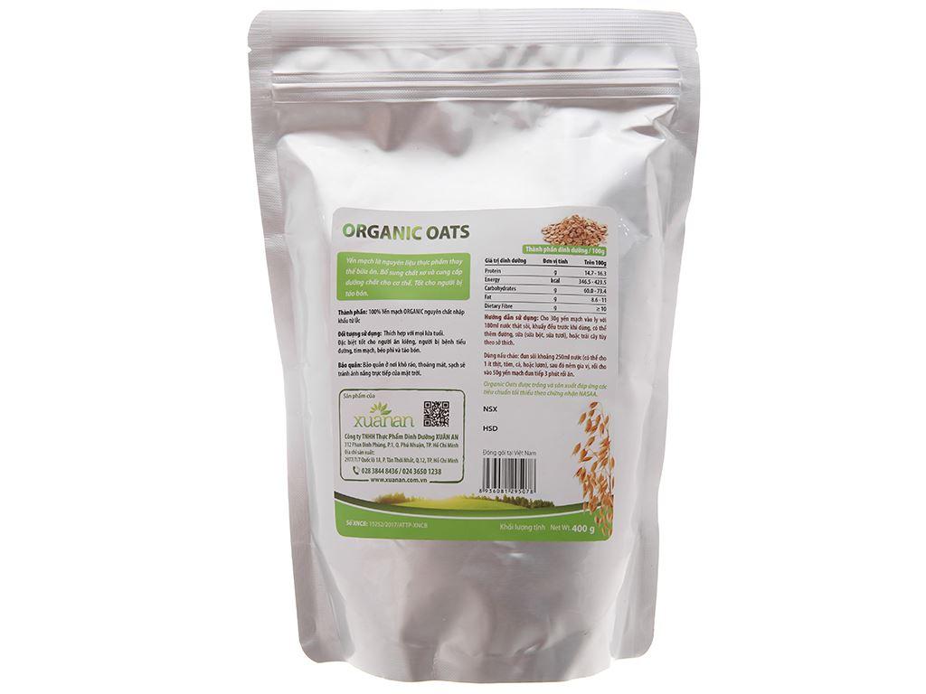 Yến mạch nguyên cám Xuân An Organic Oats bịch 400g 2