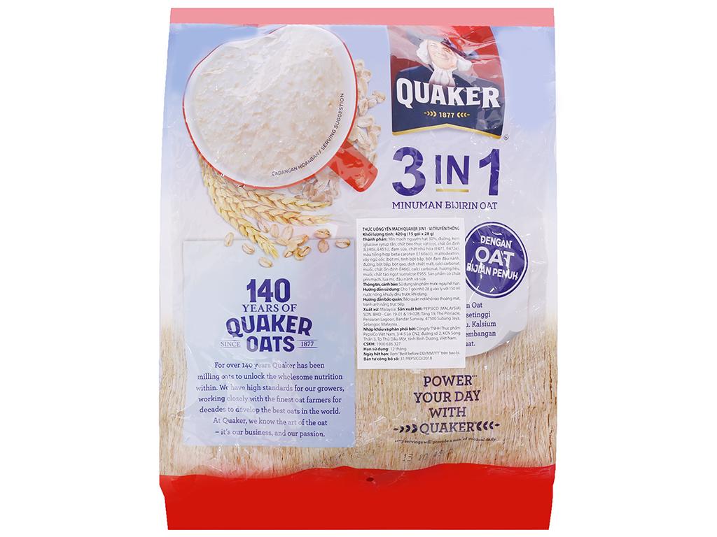 Thức uống yến mạch 3 trong 1 Quaker vị truyền thống bịch 420g 2