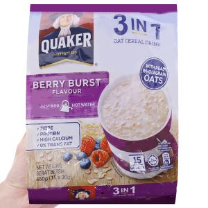 Thức uống yến mạch 3 trong 1 Quaker Berry Burst bịch 450g