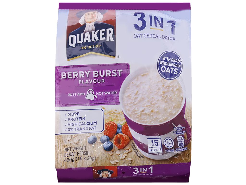 Thức uống yến mạch 3 trong 1 Quaker Berry Burst bịch 450g 1