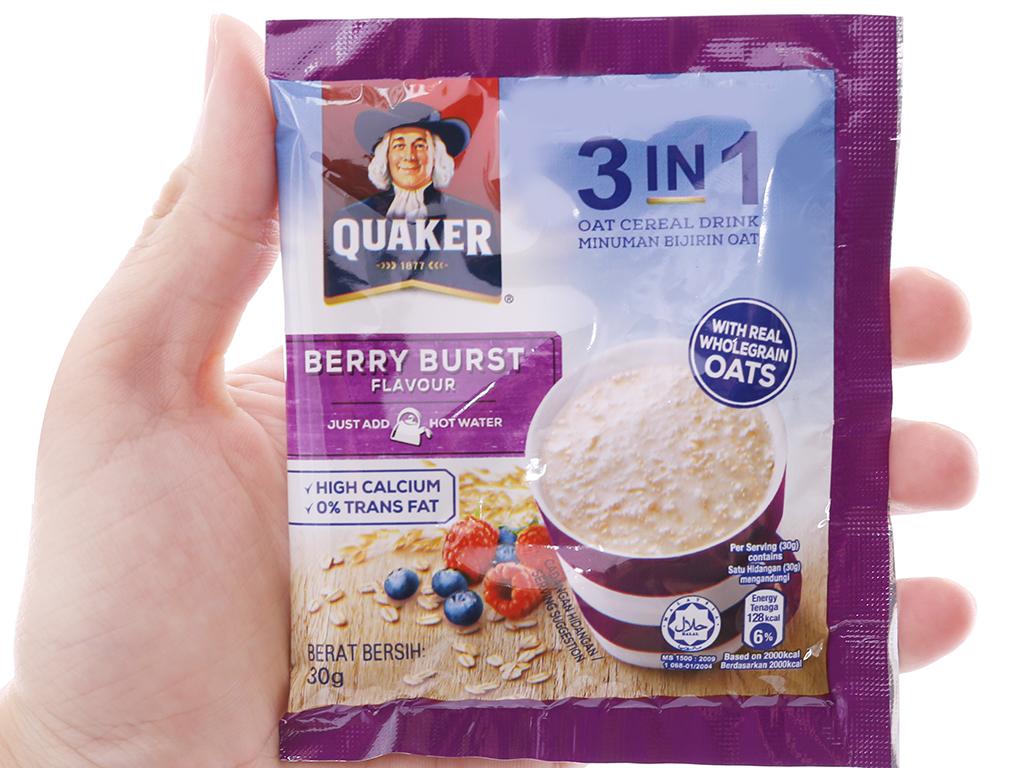 Thức uống yến mạch 3 trong 1 Quaker Berry Burst bịch 450g 4