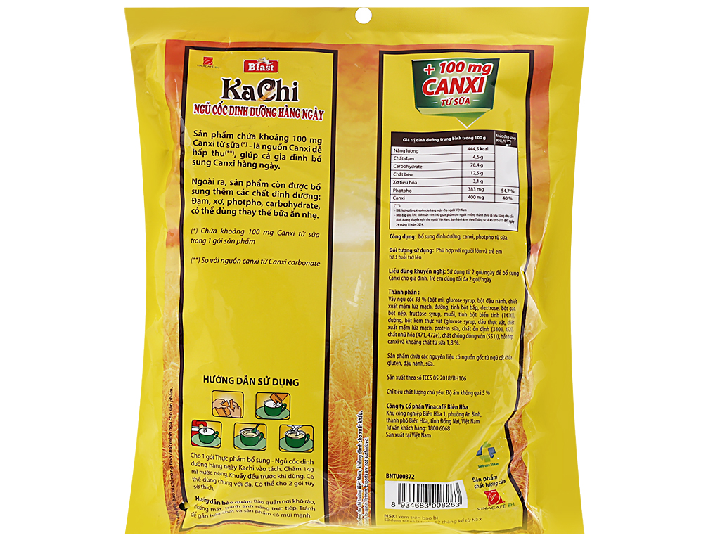 Ngũ cốc dinh dưỡng VinaCafé Kachi bịch 500g 2