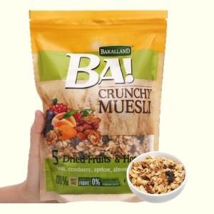 Ngũ cốc Bakalland Muesli 5 loại trái cây sấy và mật ong gói 300g