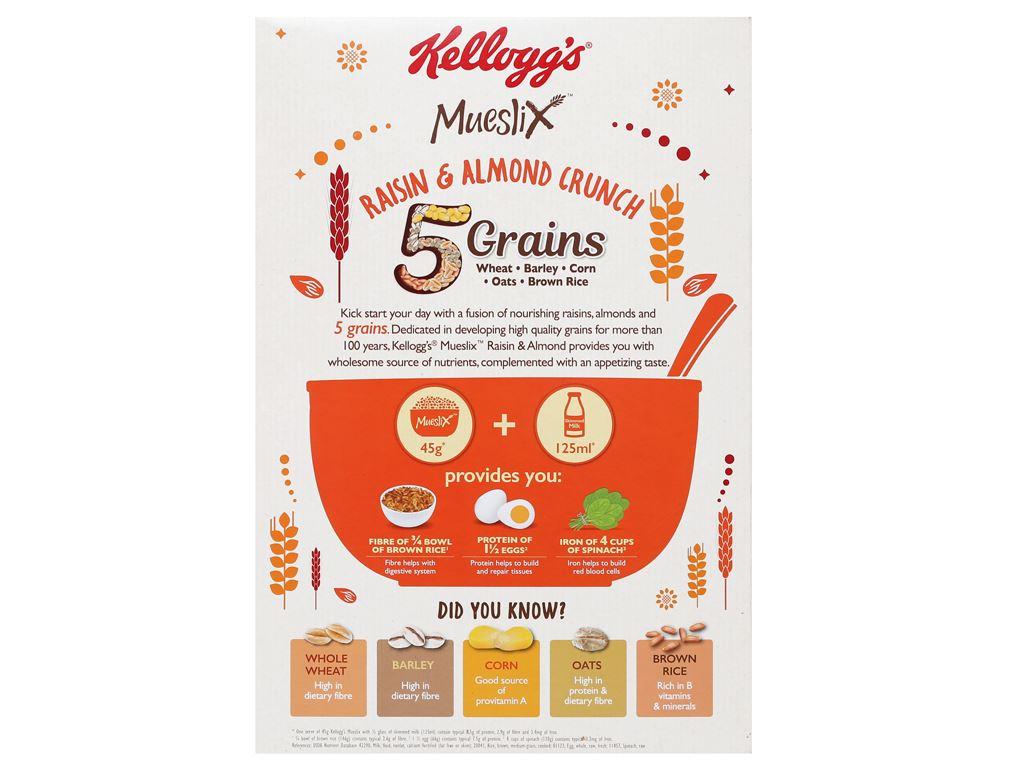 Ngũ cốc Kellogg's Mueslix vị nho khô hạnh nhân hộp 375g 6
