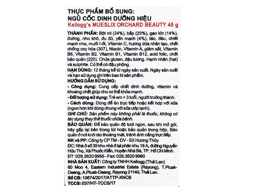 Ngũ cốc trộn trái cây khô Kellogg's Mueslix Orchard Beauty hộp 45g 10