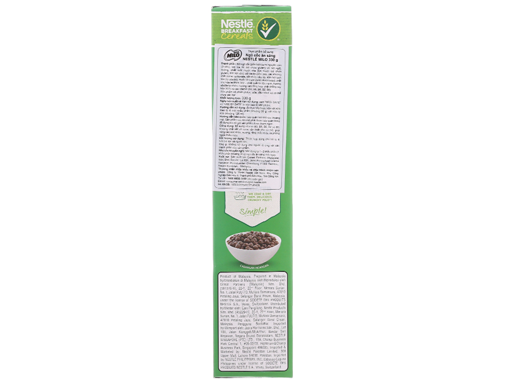 Ngũ cốc Nestlé Milo vị socola hộp 330g 3