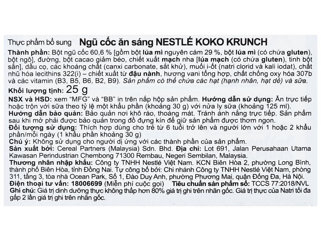 Ngũ cốc Nestlé Koko Krunch hộp 25g 7
