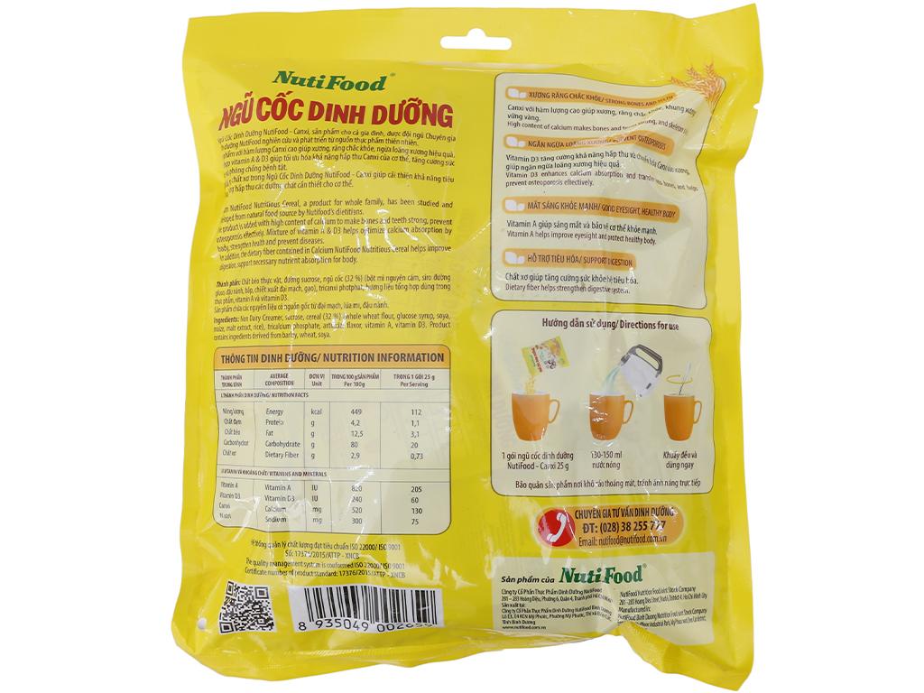 Ngũ cốc dinh dưỡng NutiFood Nguyên cám bổ sung Canxi bịch 500g 3