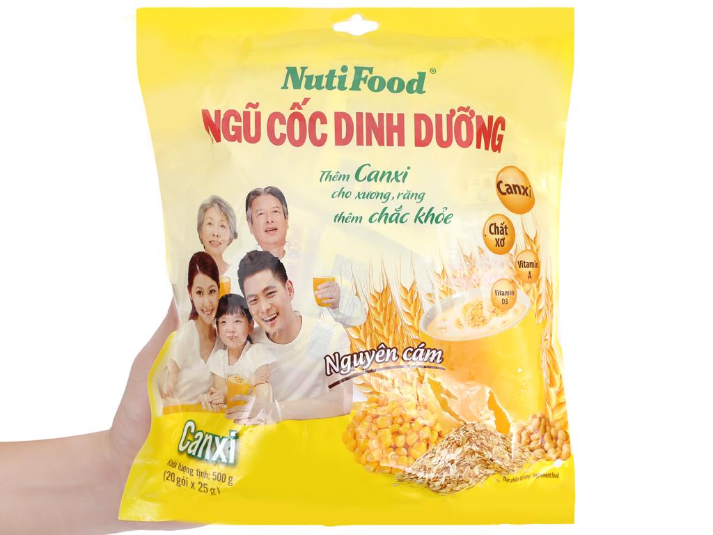 Ngũ cốc dinh dưỡng NutiFood Nguyên cám bổ sung Canxi bịch 500g 12