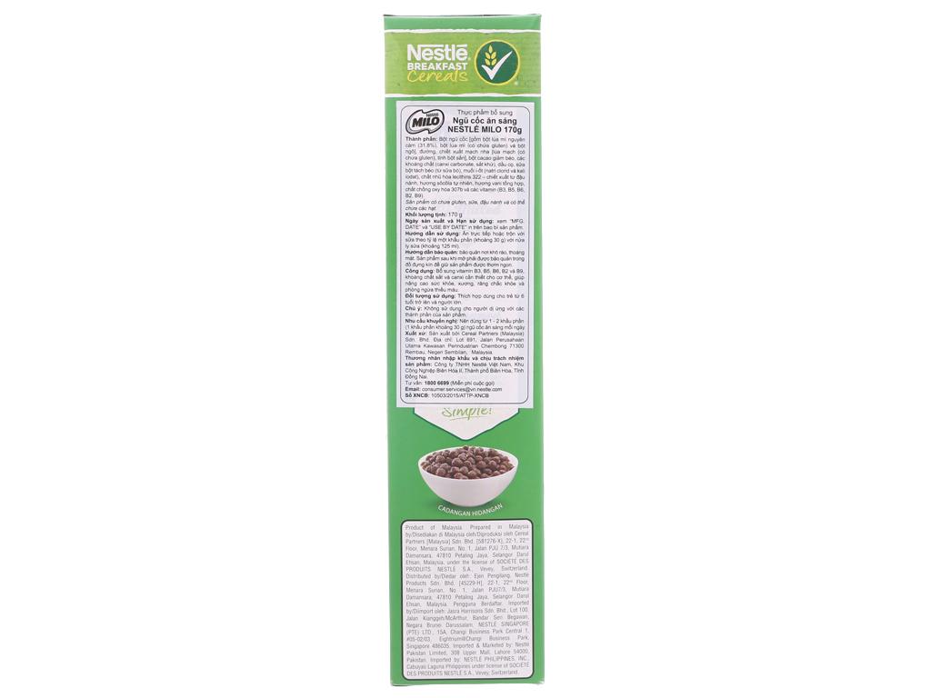Ngũ cốc Nestlé Milo vị socola hộp 170g 3