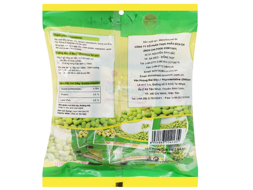 Bột đậu xanh hạt sen Bích Chi Không đường bịch 300g 6