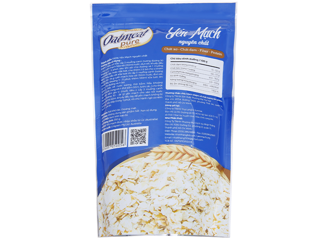 Yến mạch Oatmeal Cereal Nguyên chất bịch 350g 2
