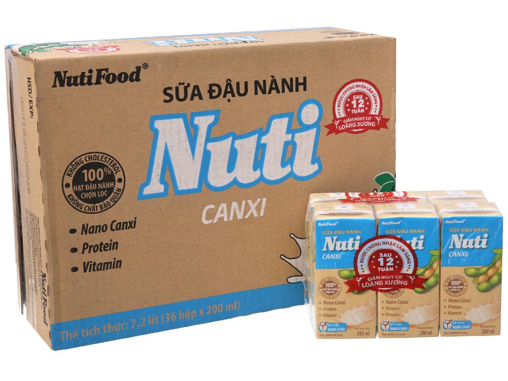 Thùng 36 hộp Sữa đậu nành Nuti Canxi 200ml 1