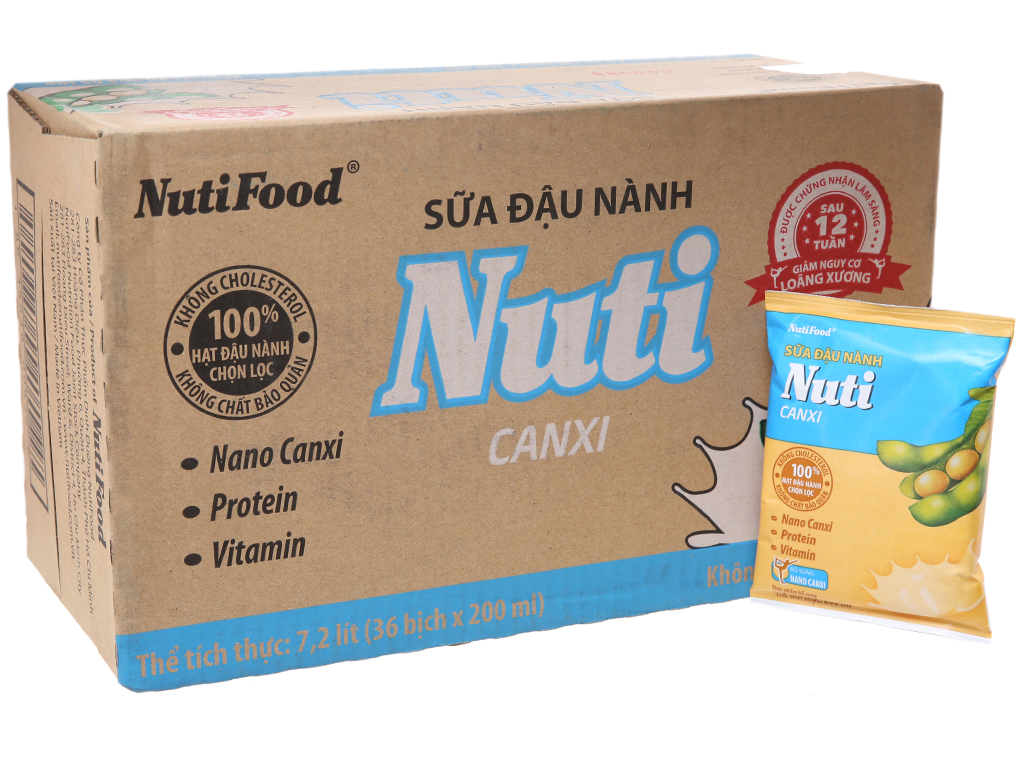 Thùng 36 bịch Sữa đậu nành Nuti Canxi 200ml 1