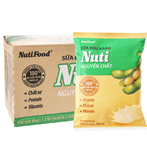 Thùng 36 bịch Sữa đậu nành Nuti nguyên chất 200ml