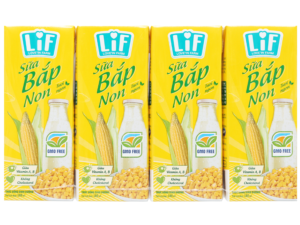 Lốc 4 hộp sữa bắp non LiF 180ml 6