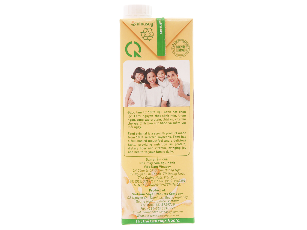 Sữa đậu nành Fami nguyên chất 1 lít 5