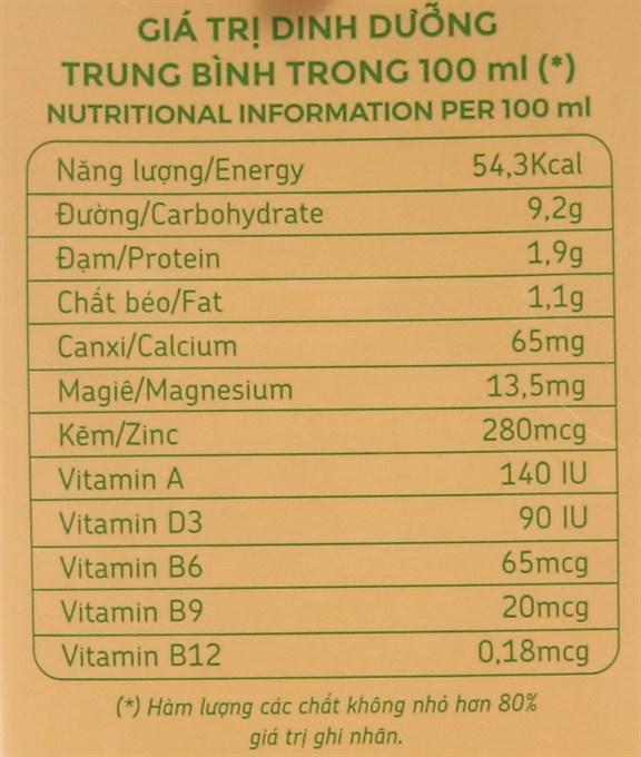 Bảng giá trị dinh dưỡng sữa đậu nành Fami canxi có đường hộp 1 lít